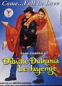 DIL WALE DULHANIYA LE JAYENGE 1995 Indian romantic comedy musical film. Typical SRK classic with a girl with dreams, a boy who thinks will never fall in love & an angry traditional father against their love affair. Legendary audio tracks & a movie no Indian can hate.