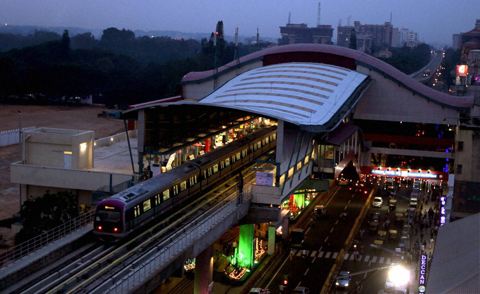 Metro train on trail run in Bangalore