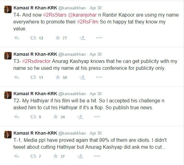 These are some tweets by KRK prior the release of Bombay Velvet
