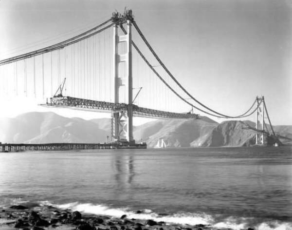 Golden Gate Bridge Under Construction (1937)