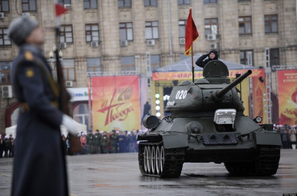 TO GO WITH AFP STORY BY ELEONORE DERMY A World War II-era Red Army's T-34-85 tank rolls during a military parade marking the 70th anniversary of the Stalingrad Battle, in the Russian city of Volgograd, formerly Stalingrad, on February 2, 2013. Russia marked today the 70th anniversary of a brutal battle in which the Red Army defeated Nazi forces and changed the course of World War II. AFP PHOTO / MIKHAIL MORDASOV (Photo credit should read MIKHAIL MORDASOV/AFP/Getty Images)