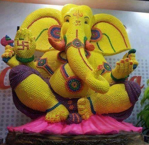 Lord Ganesha made of Cadbury Gems
