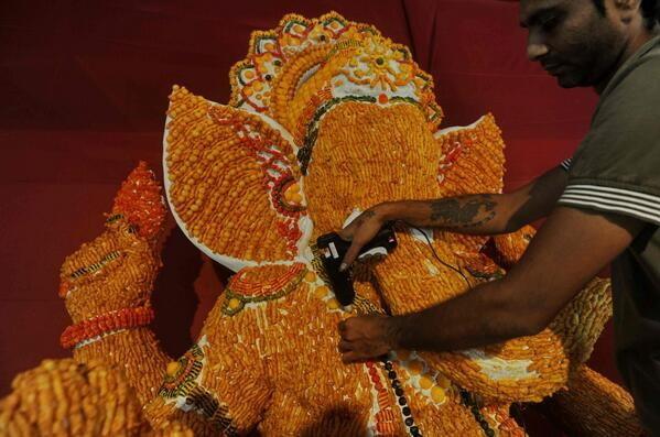 Lord Ganesha made of Kurkure