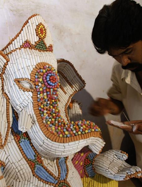 Lord Ganesha made of chalkpieces