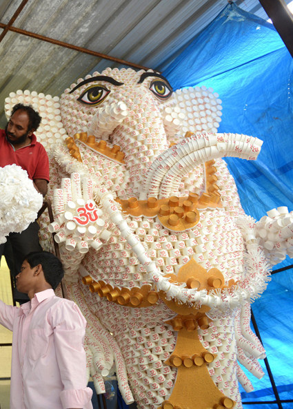 Lord Ganesha made of disposable cups