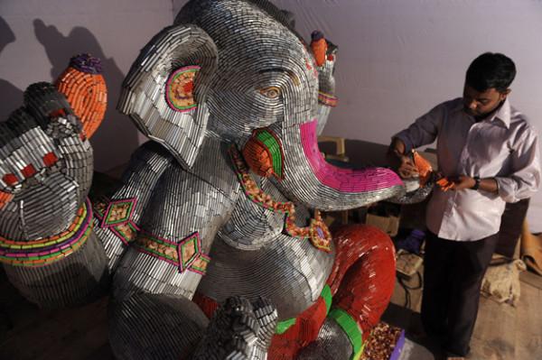 Lord Ganesha made of pencils