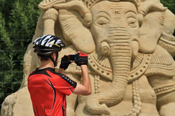 Lord Ganesha made of sand