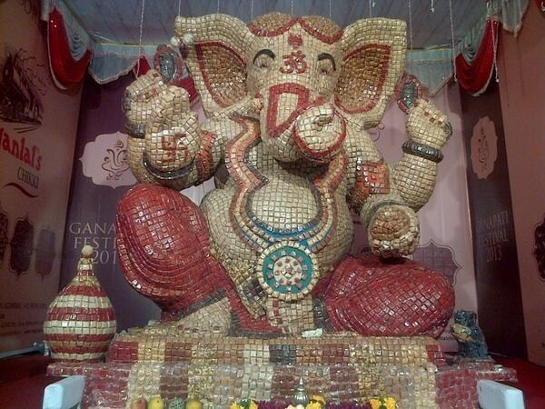 Lord Ganesha made out of chikkis