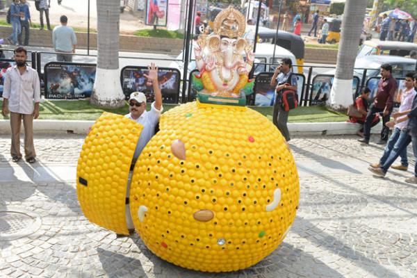 Lord Ganesha on mobile laddu