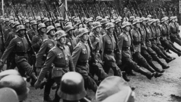 Sub - German troops marching through occupied Warsaw during World War Two, Poland, circa 1939. (Photo by FPG/Getty Images)