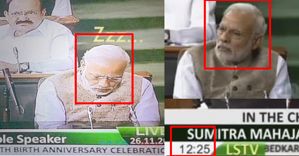 This Video Clearly Busted The Viral Pic Of PM Modi Sleeping In Lok Sabha. Shows He Wasn't