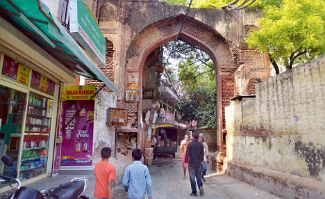 The encroached fort of chirag delhi in ruins. This is one of the four gates of the fort. Photo by Pankaj Nangia