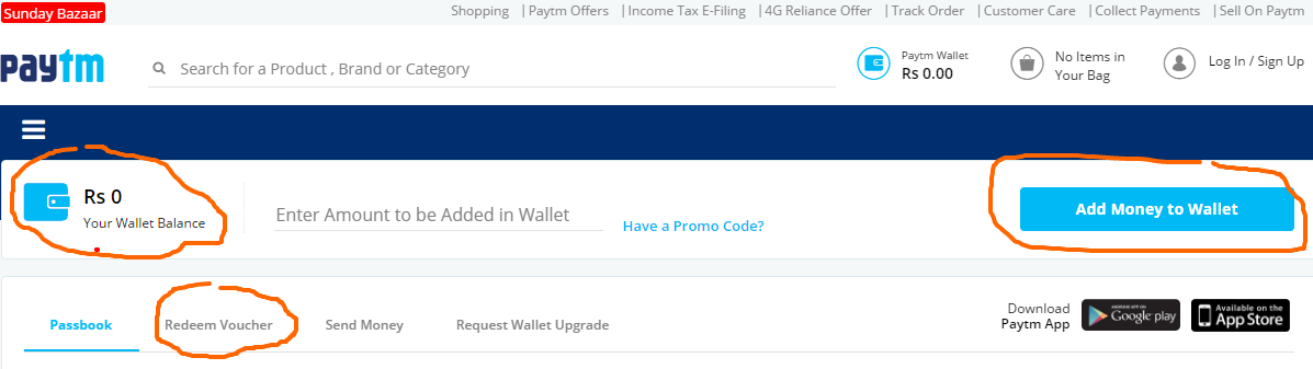 Paytm Wallet Offers Add Money to Paytm Wallet and Get Cash Back Offers