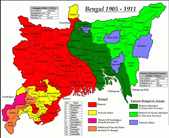 the partition of bengal 1905 Partition of bengal the bengal presidency, british indian empire, is divided into two provinces by lord curzon, viceroy of india the western portion retains the name of bengal and the capital of calcutta, while the eastern portion is named eastern bengal and assam, with dacca as its capital.
