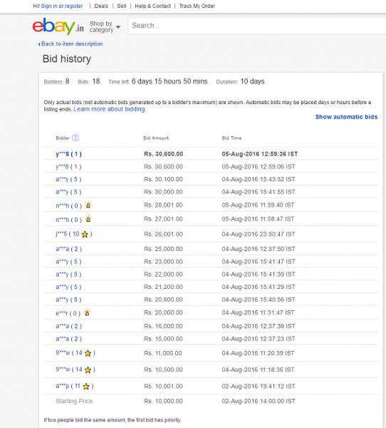 eBay India Item Bid History