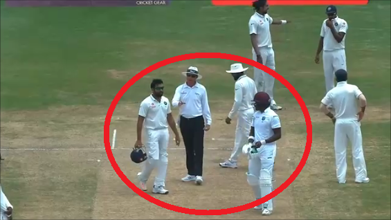umpire intervene between rohit sharma and darren bravo