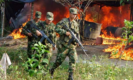 Soldiers torch a cocaine processing laboratory near the city of Cucuta, in northern Colombia.