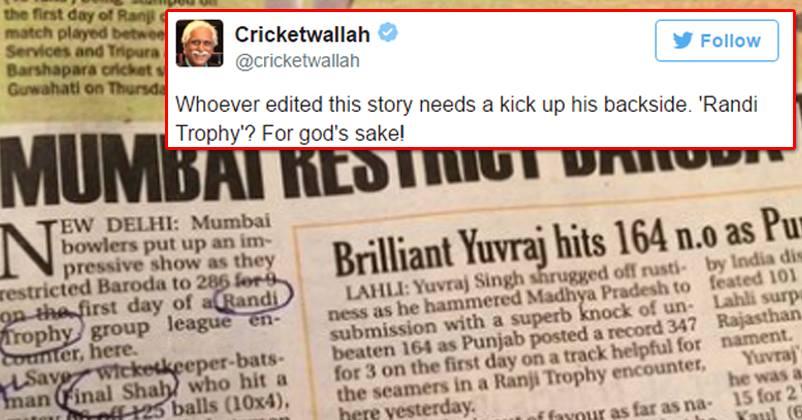 This Leading Newspaper Had 'Randi' Instead Of 'Ranji' Trophy