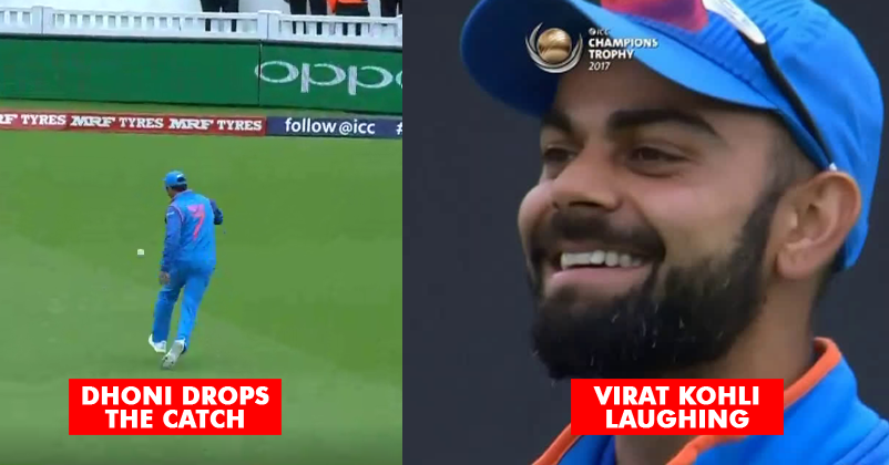 Image result for dhoni drop catch and virat laugh