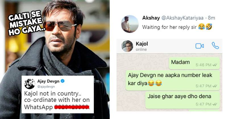 Ajay Devgn Shared Kajol's WhatsApp Number  Twitter Trolled