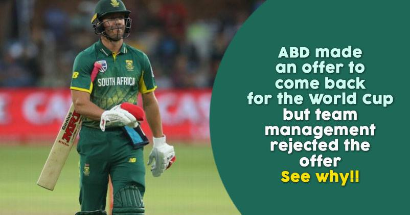 ICC World Cup 2019: AB de Villiers' Offer To Come Out Of Retirement Is Rejected By South Africa ...