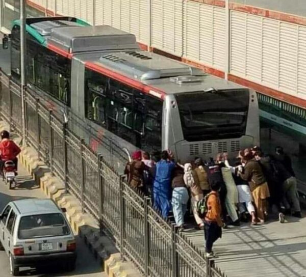 Twitter Sparks With Funny Memes As Video & Pics Of Pakistani Passengers Pushing BRT Bus Go Viral